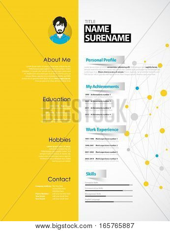 Creative CV template with yellow paper stripe.