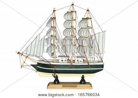Ship Sailboat Wooden Model Figurine on a White Background