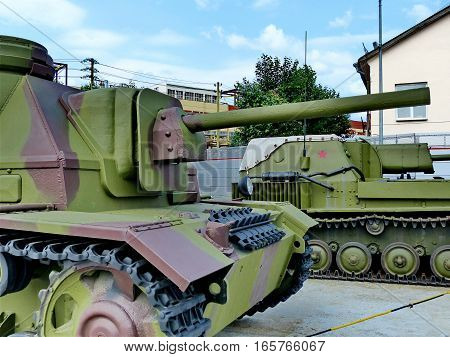 Upper Pyshma, Russia - July 02, 2016: 76-mm self-propelled gun SU-76i arr. 1943 - exhibit of the Museum of military equipment