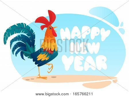 Template greeting card for the 2017 Chinese New Year with cute cartoon rooster. Vector illustration.