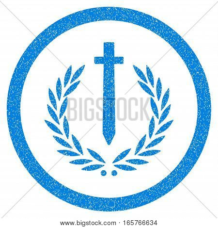 Rounded Sword Honor Embleme rubber seal stamp watermark. Icon symbol inside circle with grunge design and scratched texture. Unclean vector blue emblem.