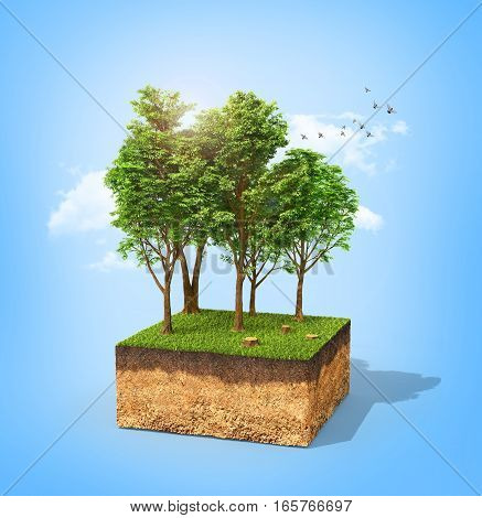Eco concept. Cross section of ground with tall trees on a blue ky. 3d illustration
