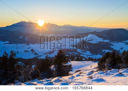 Sunset over the Tatra mountains wide wiev.