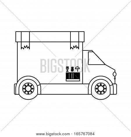 black silhouette contour transport truck with box packing tape broken vector illustration
