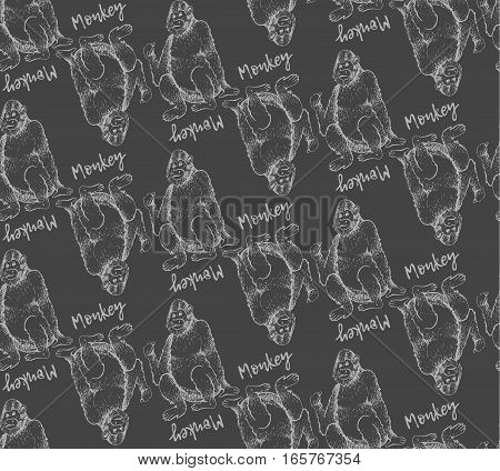 Seamless pattern of Monkeys. Vector illustration. Hand drawn sketch of young orangutan is sitting on its ass and finger is pointing back. Vintage engraving style. Beige outline on the gray background
