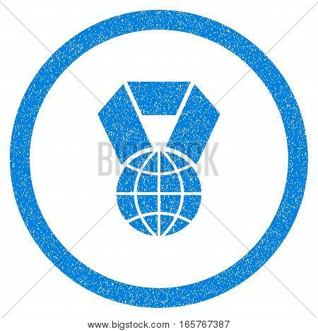 Rounded World Award rubber seal stamp watermark. Icon symbol inside circle with grunge design and dust texture. Unclean vector blue sticker.
