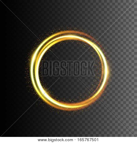 Gold glittering light frame, Swirl trail effect, Vector illustration