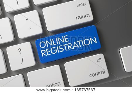 Online Registration Concept: Laptop Keyboard with Online Registration, Selected Focus on Blue Enter Keypad. 3D Illustration.