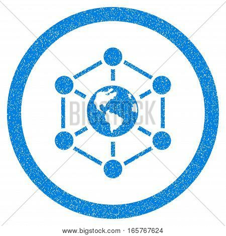 Rounded Worldwide Internet rubber seal stamp watermark. Icon symbol inside circle with grunge design and dirty texture. Unclean vector blue emblem.