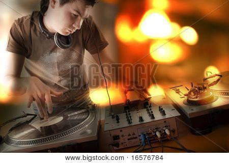 Dj playing lounge jazz ballade at a cafe