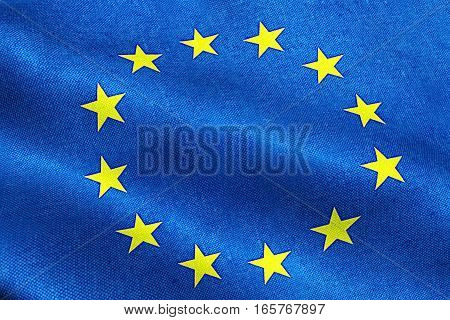 Eu Flag, Euro Flag, Flag Of European Union Waving, Yellow Star