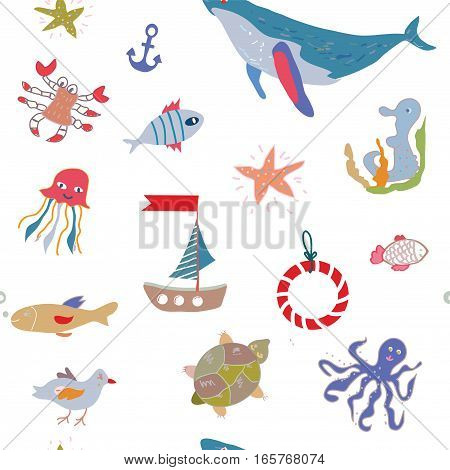 Sea life seamless pattern with funny design - vector graphic illustration