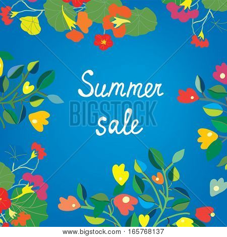 Floral background for summer or spring sale - vector graphic illustration