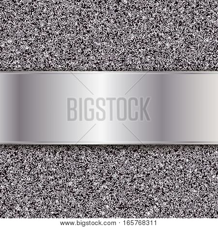Silver glitter texture, Abstract vector metal background