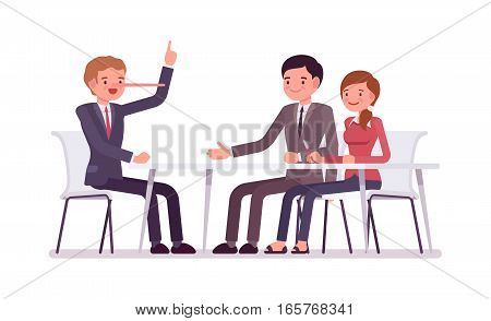 Group of business people sitting at the desk, man is a liar, nose grows in length when he tells a lie, cheating partners, promising unreal future, fraud for business owners, agent and careless clients