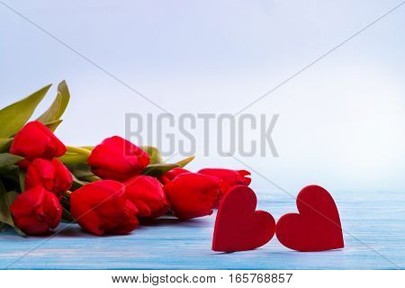 Red tulips and two wooden hearts on blue table with copy space