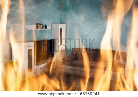 Close-up Of Fire Burning Inside The Living Room Of The House