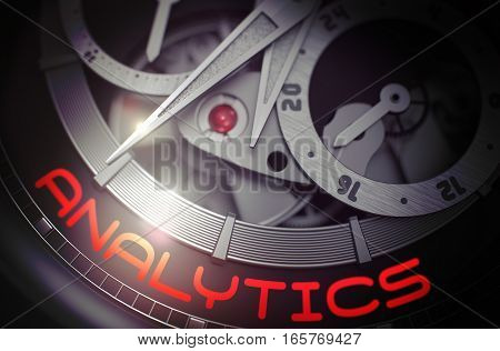 Gears and Mainspring in the Mechanism of a Watch with Analytics on the Face of It. Analytics - Black and White Up Close of Wrist Watch Mechanism. Work Concept with Glowing Light Effect. 3D Rendering.