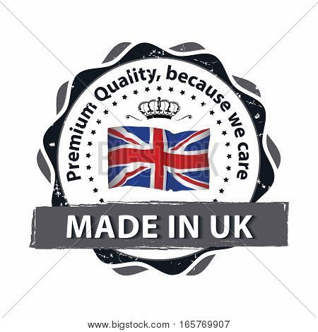 Made in Great Britain, Premium Quality, Trusted Brand - grunge label / badge / sticker with the United Kingdom's flag. Print colors used.