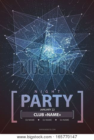 Night Disco Party Poster Background. Vector Illustration