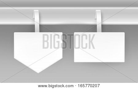 Vector set of Blank White Square Arrow Papper Plastic Advertising Price Wobbler Front view Isolated on Background