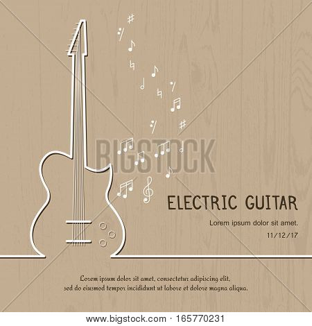 Abstract music electric guitar cover. Graphic vector poster illustration. Modern cute card line background. Sound concept. Invitation, packaging element