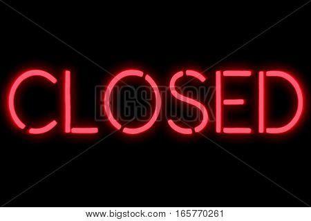 Flickering Blinking Red Neon Sign On Black Background, Closed Restaurant Shop Bar Sign