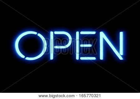 Flickering Blinking Blue Neon Sign On Black Background, Open Shop Bar Sign