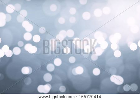 Christmas Silver Background With Bokeh Flowing, Festive Holiday Happy New Year