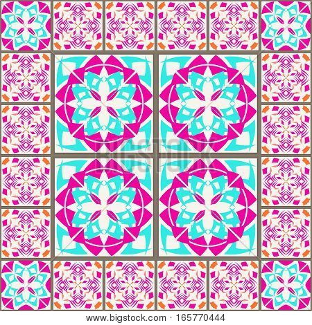 Vector seamless texture. Beautiful colored pattern for design and fashion with decorative elements. Mosaic ceramic tiles with ethnic geometric ornaments
