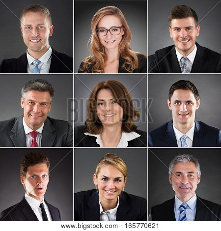 Collage Of A Smiling Business People Face Portraits. Happy Men and Women