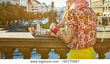 The spirit of old Europe in Prague. Closeup on young mother and daughter travellers on Wenceslas Square in Prague Czech Republic looking at