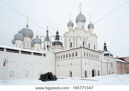 Rostov Veliky / Russia - DECEMBER 22: Voskresenskaya Cathedral in Kremlin on December 22 2016 in Rostov Veliky. Rostov Veliky is oldest in Russia tourist center of Golden Ring.