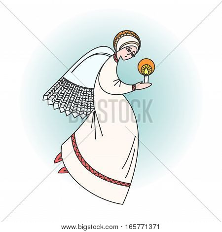 Angel character praying with a candle in hands. Stock vector illustration for christmas greeting cards on religious occasions.