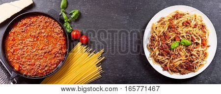 Pasta Bolognese And Ingredients For Cooking