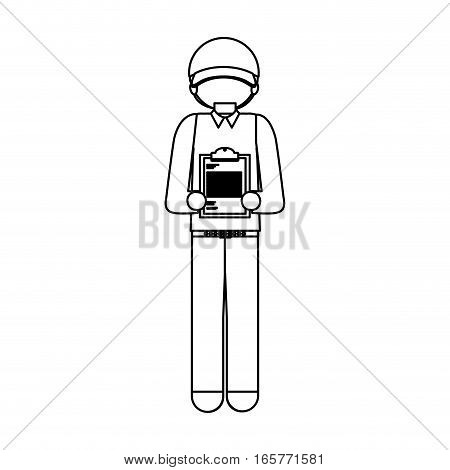black silhouette messenger with table notepad vector illustration