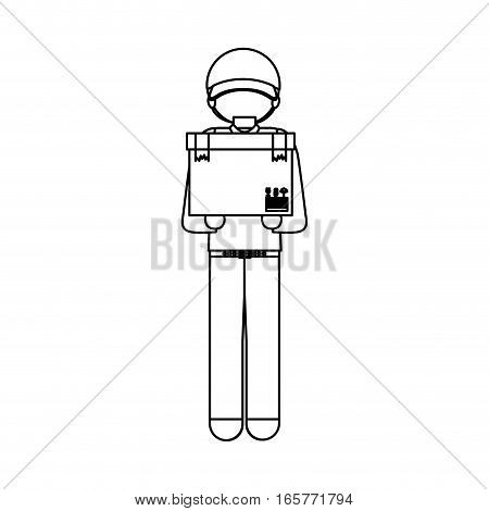 black silhouette messenger with box vector illustration