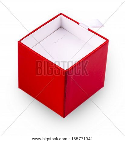 square shiny red gift box isolated on white background