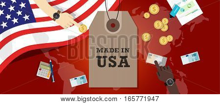 Made in USA emblem written on a label tag with flag patriotic illustration