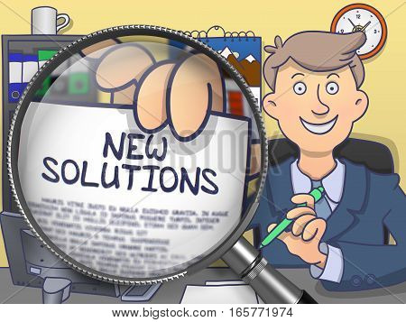New Solutions. Concept on Paper in Man's Hand through Magnifier. Colored Doodle Illustration.