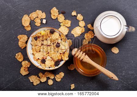 Breakfast With Cereal Flakes, Milk And Honey