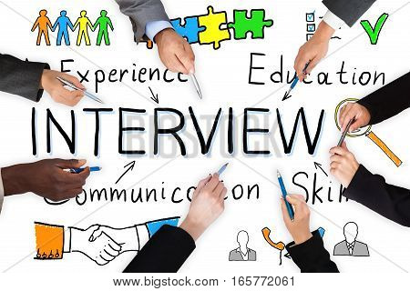 Businesspeople Working On Interview Concept Together On White Background