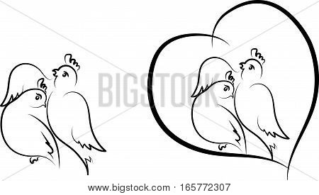 Valentine - birds stylisation in variants, vector
