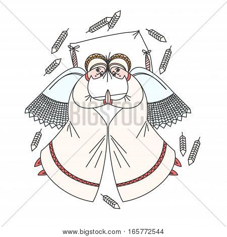 Cute scene with angels on the pillow. White background. Stock vector illustration on religious occasions.