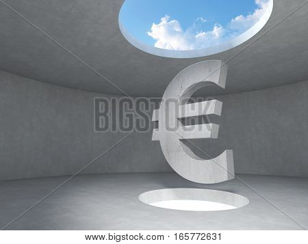 Euro sign over the light hole space on floor up to the sky in concrete room. 3D rendering illustration.