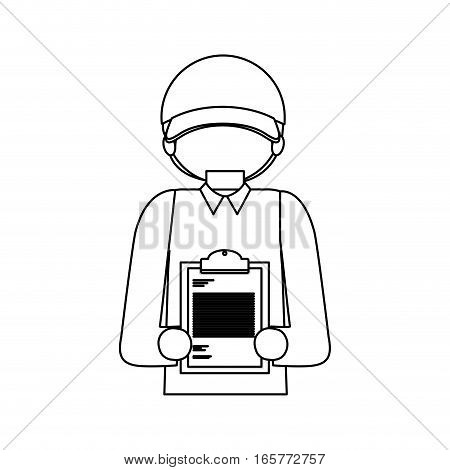 halfbody black silhouette with messenger with table notepad vector illustration
