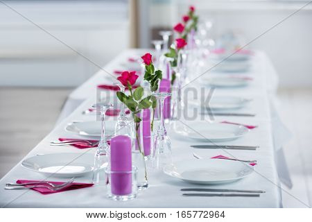 Beautiful Wedding Setting With Flower On Table