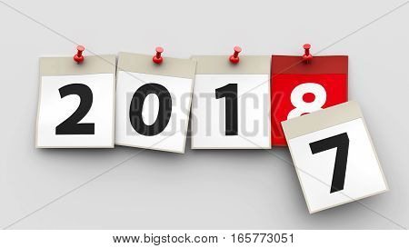 Calendar sheets with red pin and numbers 2018 on grey background represent start new year 2018 three-dimensional rendering 3D illustration