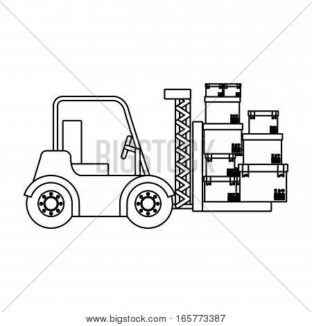 black silhouette contour forklift truck with forks with boxes vector illustration