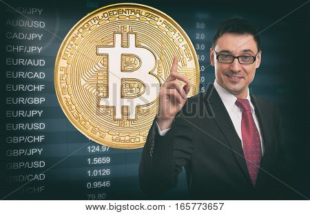 Business Idea Concept. Currency Exchange Rate. Bitcoin.